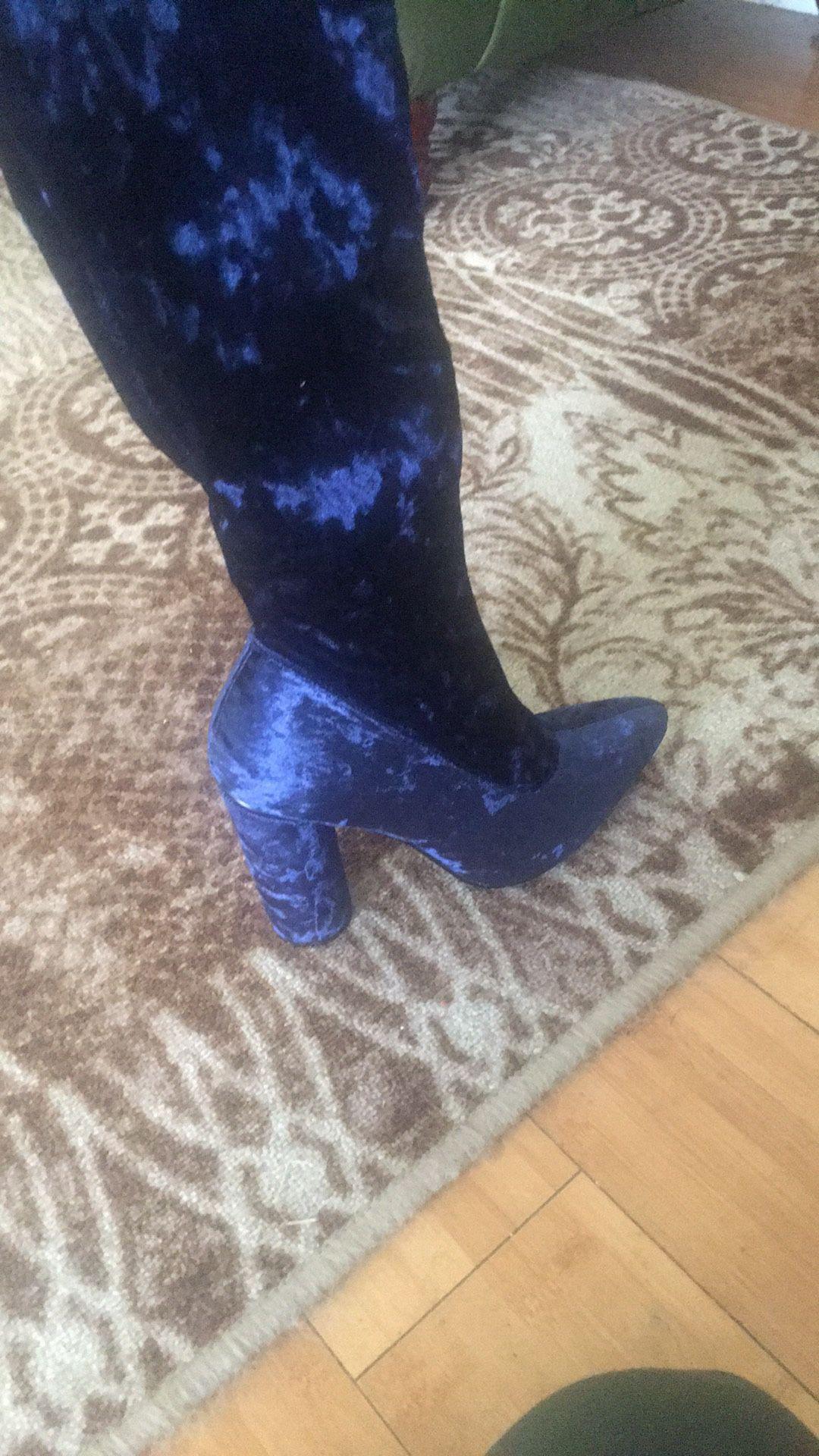 Blue Thigh high boots