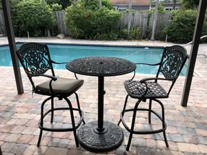 Cast Aluminum Patio Bar height round Tuscan Table, 2 swivel chairs for Sale in Boca Raton, FL