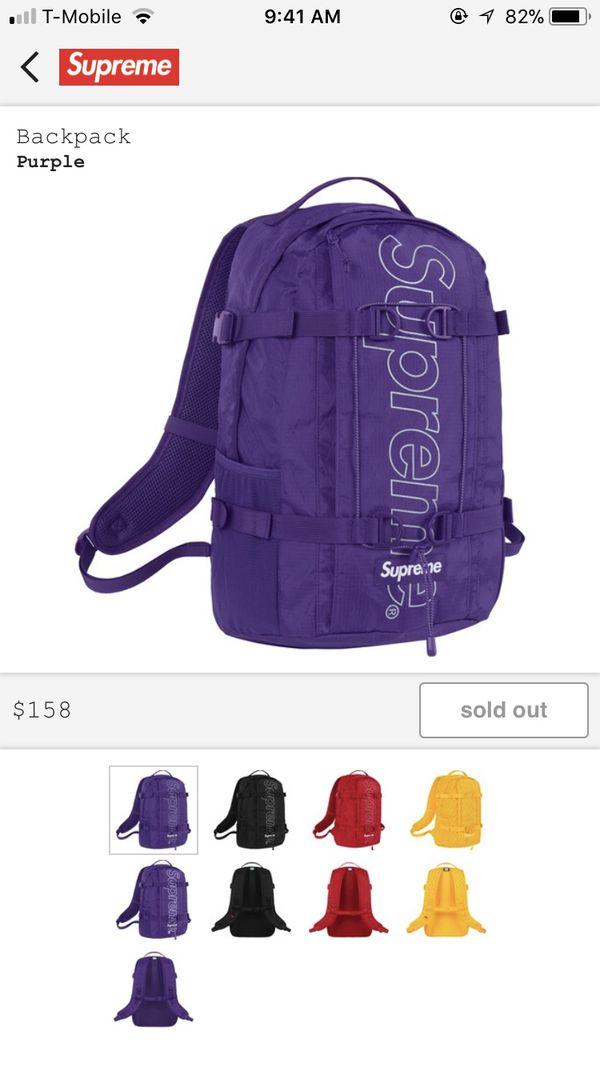 a1c778b519e Supreme Purple Backpack FW18 for Sale in El Cajon, CA - OfferUp
