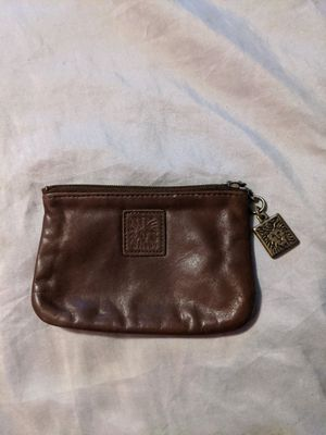 Photo Brown Anne Klein St Thomas Lion Vintage Wallet Ultra Thin Coin Purse Bag