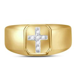 Saris and Things 10kt Yellow Gold Mens Round Diamond Cross Band Ring 1/20 Cttw Thumbnail
