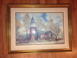 Williamsburg church paint original framed for Sale in Centreville, VA