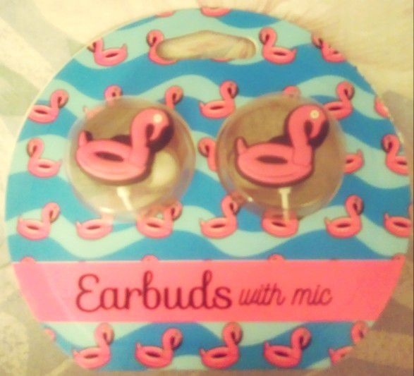 Brand New Pink Flamingo Headphones with Mic by Tech 4 You