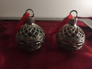 Vintage Godinger Silver Plated Art Collection Ruby Red & Green Glass Holiday Ornaments for Sale in Scottsdale, AZ