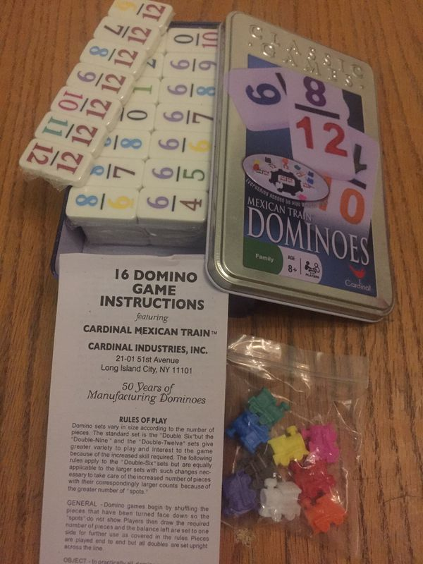 New Box Mexican Train Dominoes Wrapped Blocks With Instructions For