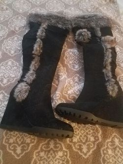 Causal knee high suede boots Thumbnail