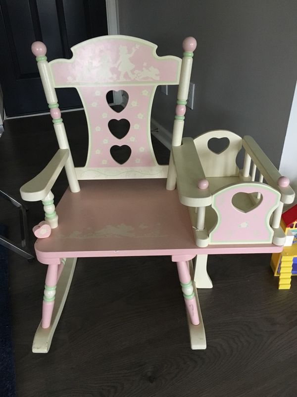 Little Girls Rocking Chair With Attached Doll Crib Moving For In Apex Nc Offerup