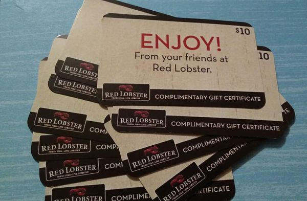 Red lobster gift certificates