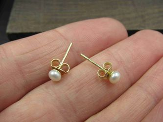 Sterling Silver Very Small White Pearl Stud Earrings Vintage Wedding Engagement Anniversary Beautiful Everyday Minimalist Cute Sexy Thumbnail