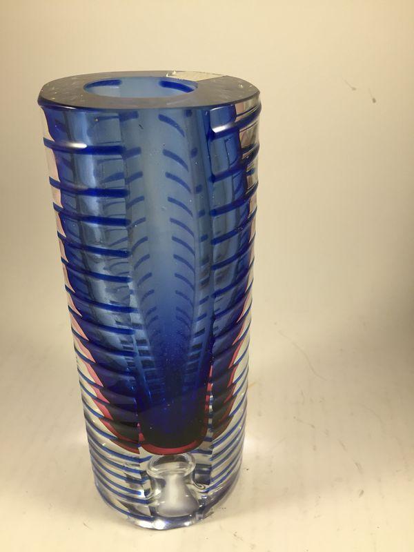 Fifth Ave Crystal Saturn Cobalt Blue Dual Candle Holder Vase