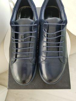 Navy Blue Low Top Fashion Sneakers, Size 13, Zanzara Thumbnail