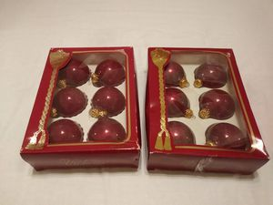 Vintage Christmas Tree Balls Ornaments Decorations Burgandy Glass 2 Original Boxes of 6 each Victoria Collection for Sale in Saint Petersburg, FL