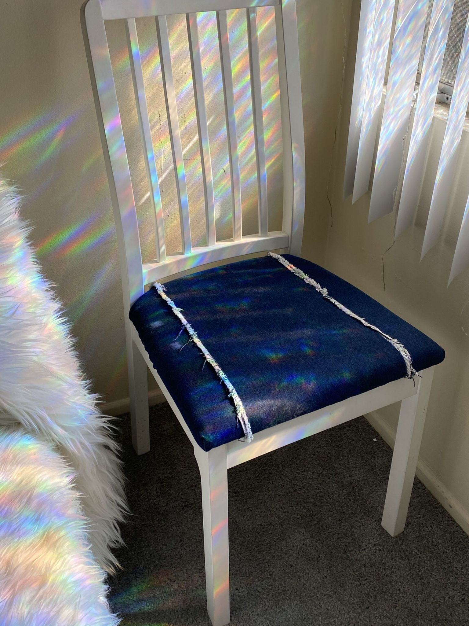 White Wood Dining Chair With Handmade Denim Cover