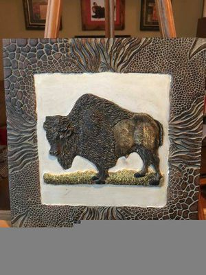 Carved buffalo bison wall hanging - $12 (Reston) for Sale in Herndon, VA