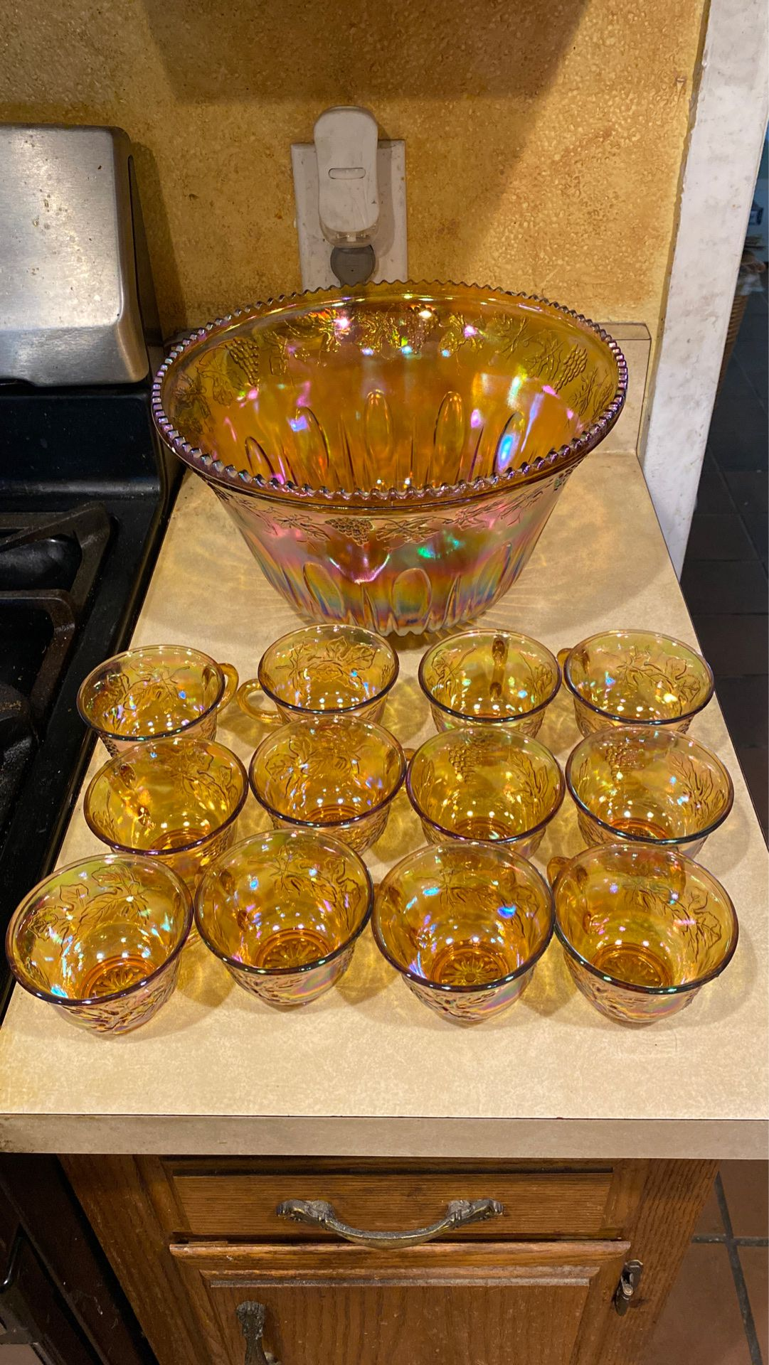 Antique marigold punch bowl at