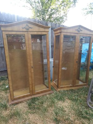 Antique cabinet set of 2 gun case or china for Sale in Madison Heights, MI