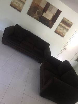 Photo 2 piece living room couch set dark brown great condition