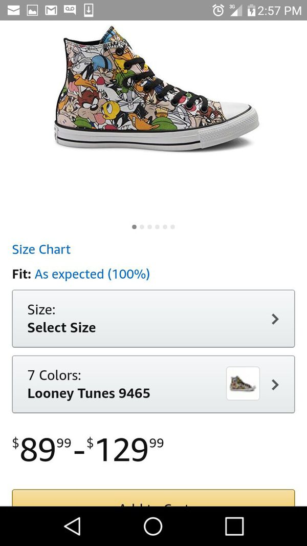 92d9679d65222 limited edition Looney tunes kids size 13 CONVERSE for Sale in ...