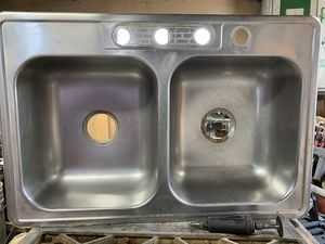 Photo Stainless steel double bowl sink