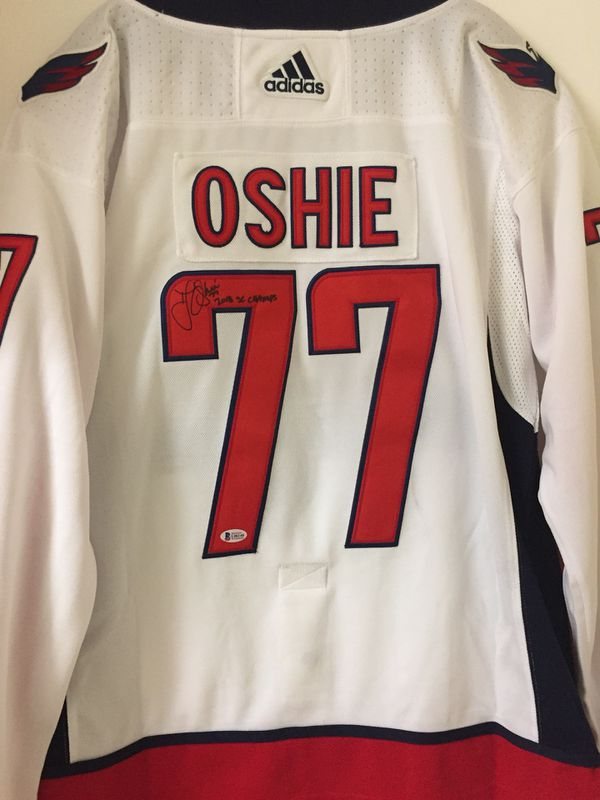 """2b2ebe404 Capitals TJ Oshie Signed """"2018 SC Champs"""" Jersey white Beckett Witnessed"""
