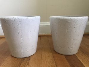 Nice white-painted clay flower pots for Sale in Alexandria, VA
