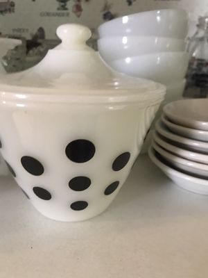 """Photo Fire King bowl with lid, grease bowl, 5 3/4"""" tall. Very rare. Black polka dots. Excellent condition."""