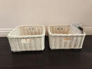 Two white storage baskets for $18 Each! for Sale in New York, NY