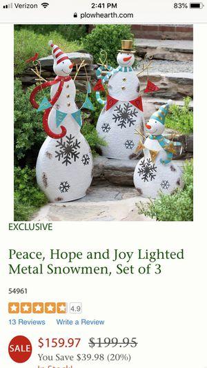 Plow & Hearth metal snowmen decoration for Sale in Herndon, VA