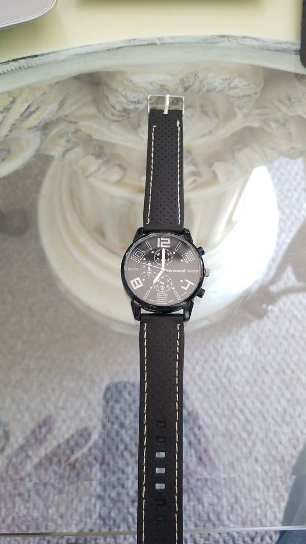 5355179f02c Mens Black white Sanwood wrist watch. Black face with white Numbers ...