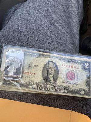 1oz fine silver bar pure 1953 TwoDollar bill for Sale in Baltimore, MD