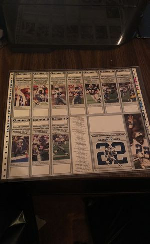 2-Dallas Cowboys Uncut Sheets of 2002 Season Tickets Featuring HOF Emmitt Smith! Each Sheet sells for $39.99 Each! for Sale in Fairfax, VA
