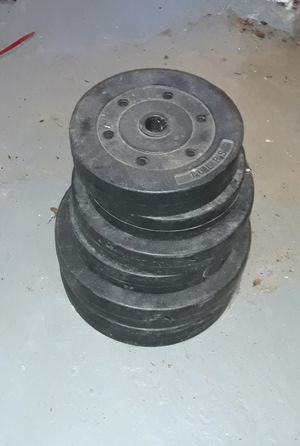 Weight set (10lbs, 15lbs, 25lbs plates, +bar) for Sale in Akron, OH
