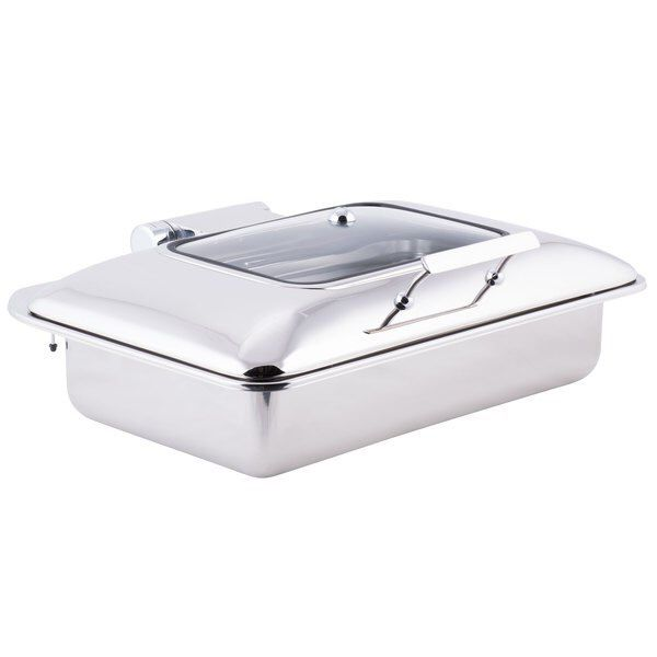 Tablecraft CW40161 7 Qt. Full Size Stainless Steel Induction Chafer with Glass Lid
