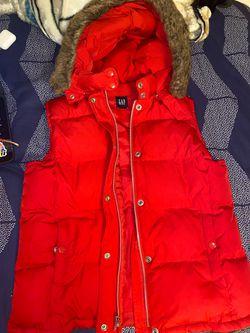 Red sleeve less jacket Thumbnail