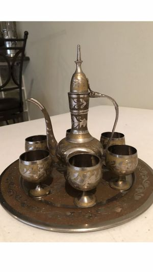 Islamic Turkish Moroccan Arabic Coffee Tea Set Gold & Silver for Sale in Leesburg, VA