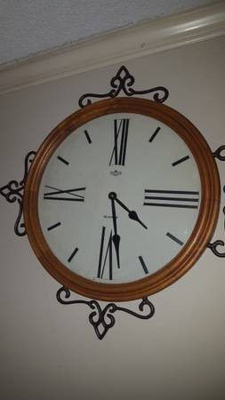 Large Oak Quartz Wall Clock With Iron Accents Household In Chapel Hill Nc Offerup