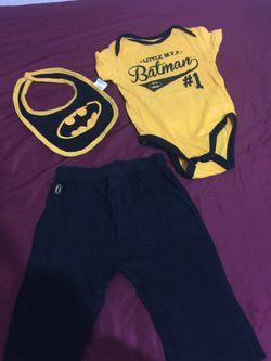 toddler's Batman onesie with bib and pants set Thumbnail