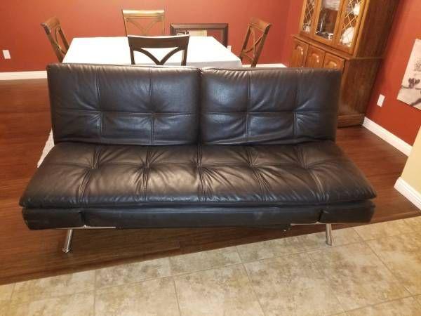 Leather Euro Lounger Convertible Sofa