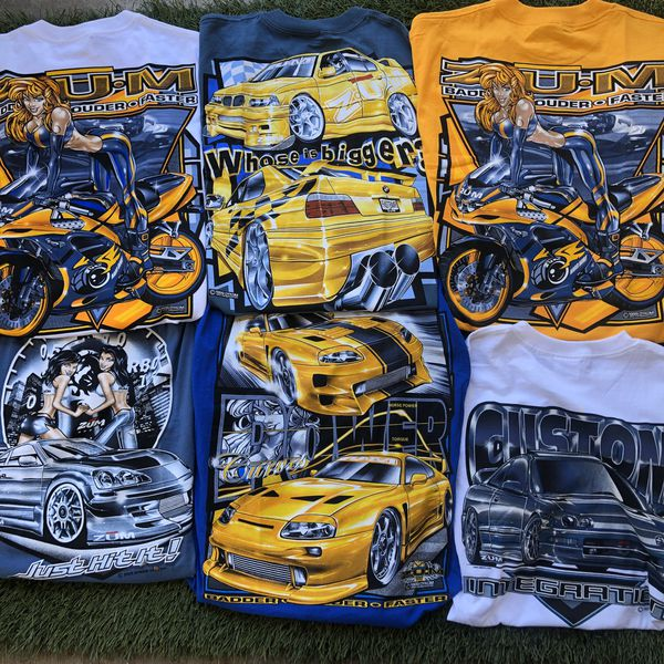 LOT 6 Vintage 90s BMW M3 Toyota Supra Integra Shirt Tee