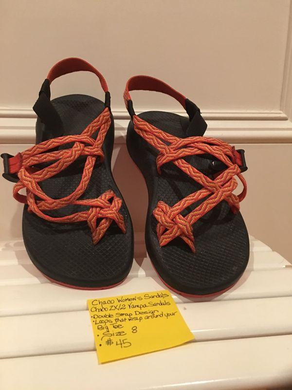 31298dca8 Chaco Women s Sandal s   Size 8    45 Chaco ZX 2 Yampa Sandals Double Strap  Design Loops around big toe Orange Rainbow Color Smoke me free home Cas