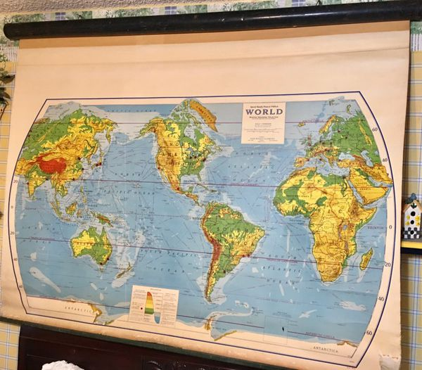 Vintage 1960s class(2)room pull down world map Rand McNally for Sale ...