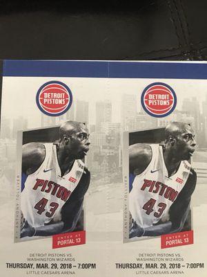 Detroit Pistons vs Washington Wizards Thursday 3/29 for Sale in Windsor, ON