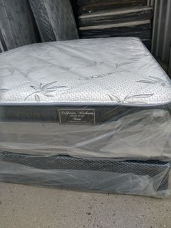 """Queen Mattress With Box Spring Bamboo Pillow Top 12""""Thick Orthopedic Brand New Thumbnail"""