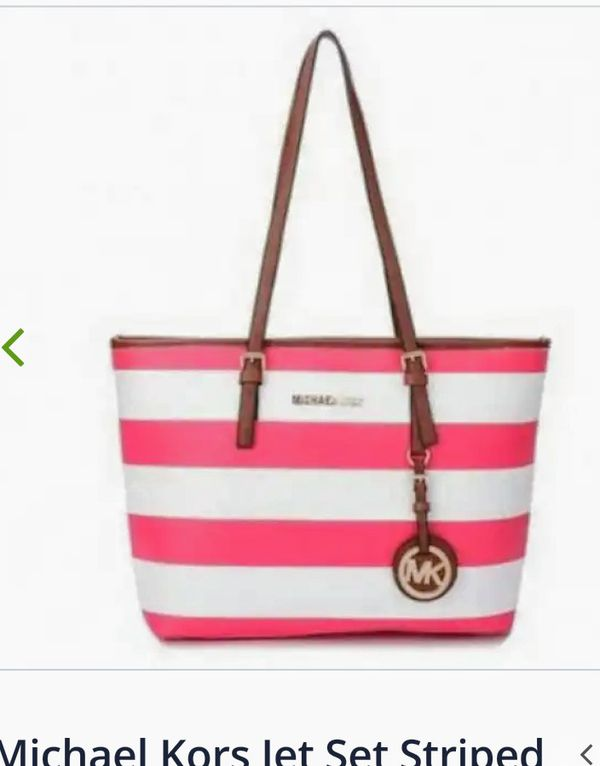 3ec2b0eb1318 Michael Kors pink and white striped purse , Fossil, Multi-colored tote bag
