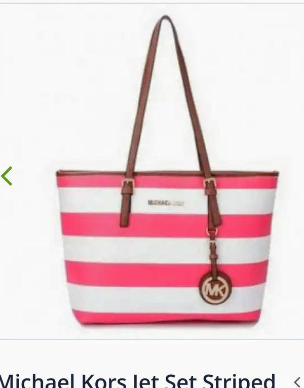 1d2d7eada409 Michael Kors pink and white striped purse
