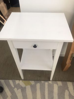 Photo Two (2) white HEMNES ikea bedside tables