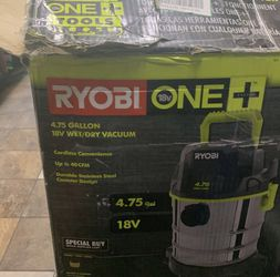 RYOBI 18V ONE+ Cordless 4.75 Gallon Wet/Dry Vacuum (Tool Only) with Hose, Crevice Tool, Floor Nozzle, and Extension Wands Thumbnail