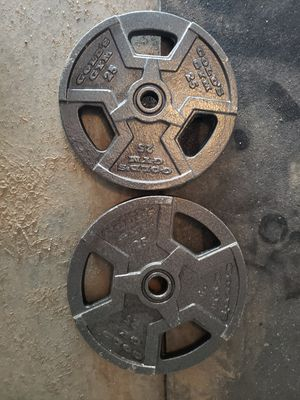 Photo 1 inch standard plates gold's gym weight 25 pound pair
