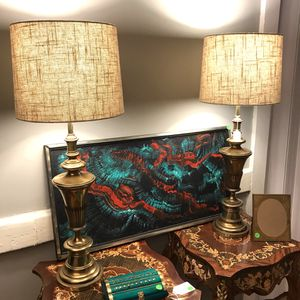 Pair of Heavy Brass Lamps with Shades for Sale in Richmond, VA