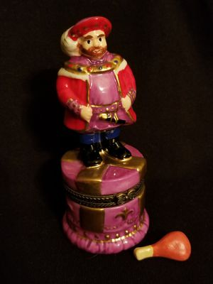 Porcelain Hinged Trinket Pill Box Medieval Man w/miniature drumstick for Sale in Mukilteo, WA